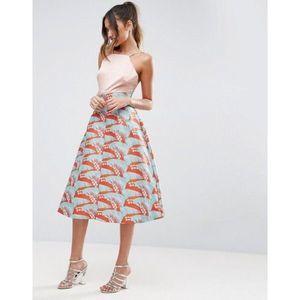 ASOS prom skirt tropical jacquard print